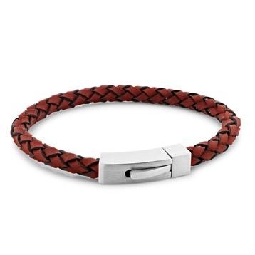 Barry Red | Braided Leather and Steel Bracelet - Duncan Walton Store