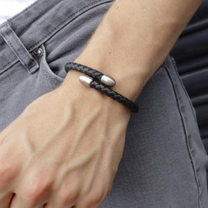 Birch Black/Brushed Rhodium Leather and Metal Bracelet