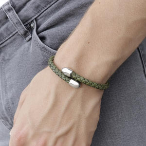 Birch Green | Leather and Metal Bracelet