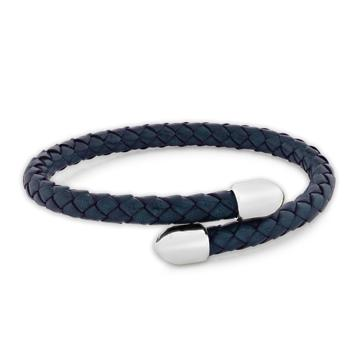 Birch Navy | Leather and Metal Bracelet