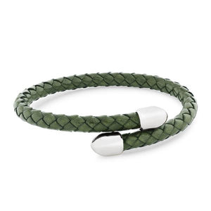Birch Green Leather and Metal Bracelet