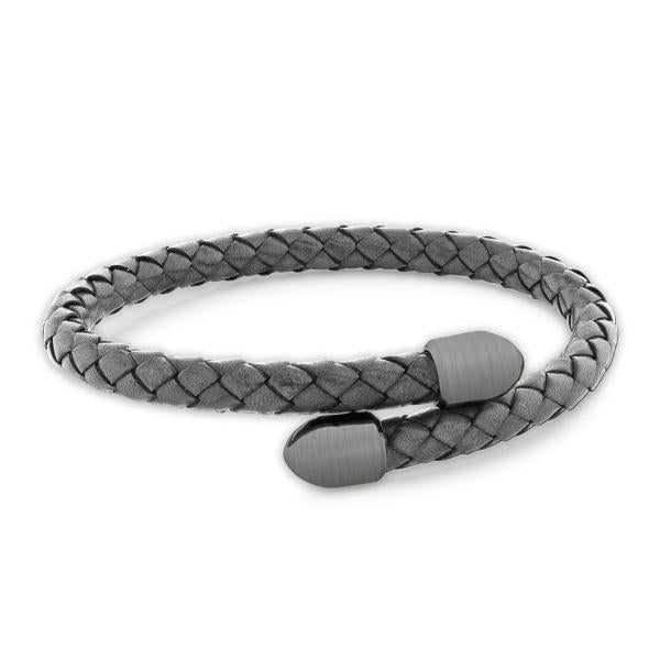 Birch Grey/Brushed Gunmetal | Leather and Metal Bracelet - Duncan Walton Store