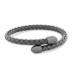 Birch Grey/Brushed Gunmetal | Leather and Metal Bracelet