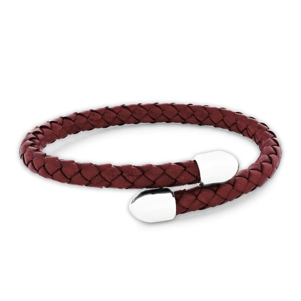 Birch Red Leather and Metal Bracelet