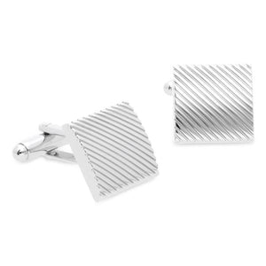 Canton Rhodium Metal Cufflinks