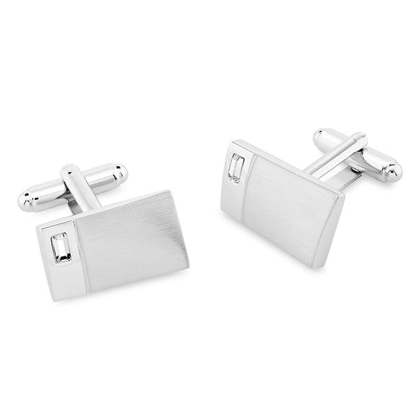 Casson Rhodium Swarovski® Crystals Cufflinks