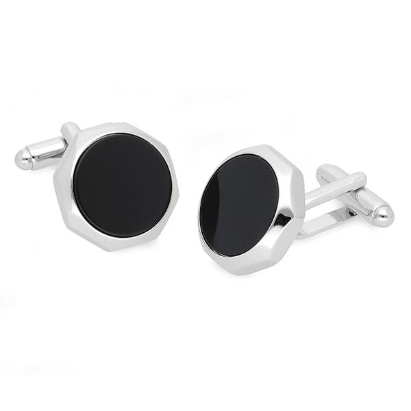 Octagonal cufflinks that are enhanced with beautiful timeless Black Onyx.