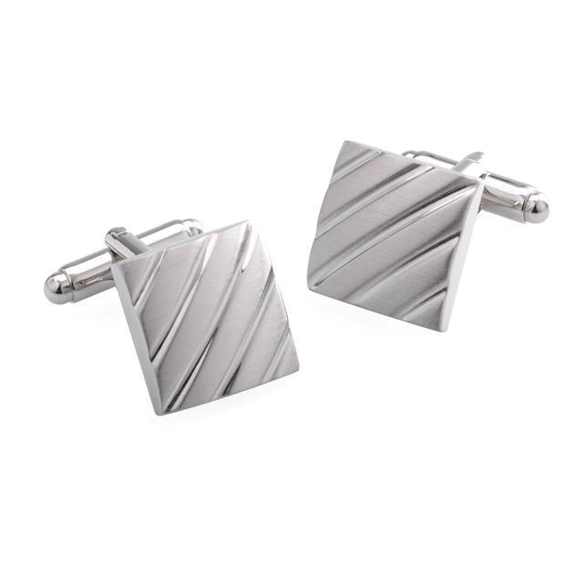 Clough Brushed Rhodium Metal Cufflinks