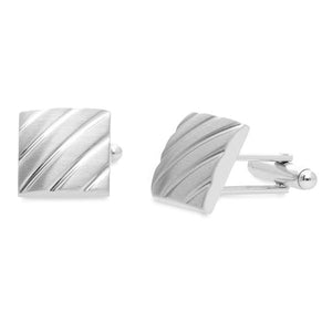 Clough Brushed Rhodium | Metal Cufflinks - Duncan Walton Store