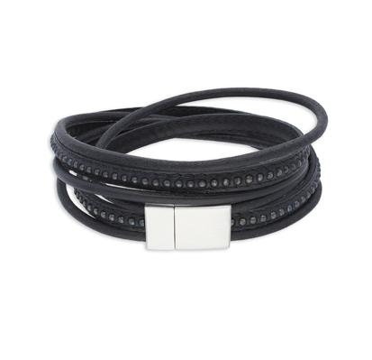 Cluster Black | Leather and Steel Bracelet - Duncan Walton Store