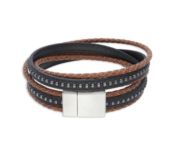 Cluster Black and Brown | Leather and Steel Bracelet - Duncan Walton Store