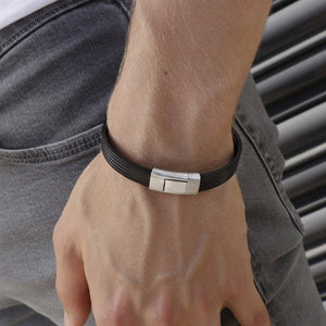 Dante Black Leather and Steel Bracelet