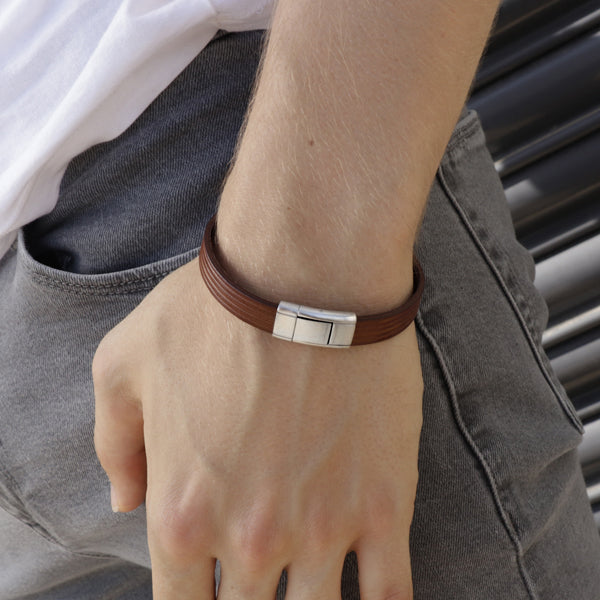 Dante Brown | Leather and Steel Bracelet