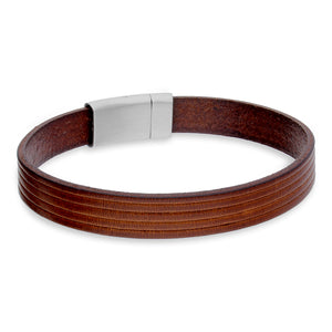 Dante Brown Leather and Steel Bracelet