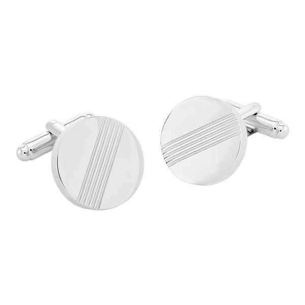 Darwin Brushed Rhodium | Metal Cufflinks