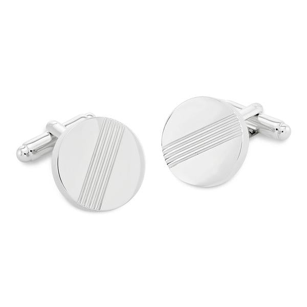 Darwin Shiny Rhodium | Metal Cufflinks