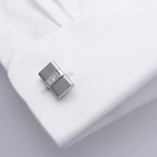Duncan Walton Ive Cufflinks are set with Clear Swarovski Crystals