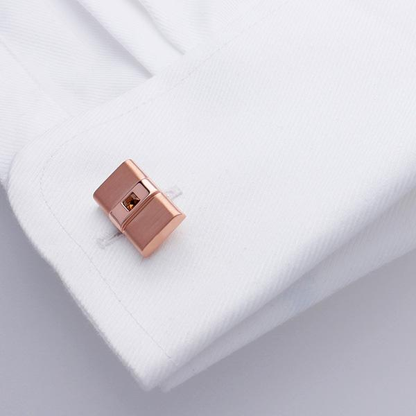 Rose Gold Cufflinks Set with a Light Smoked Topaz Swarovski® Crystal