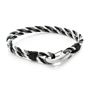 Judd Black |Leather, Waxed Cotton and Steel  Bracelet
