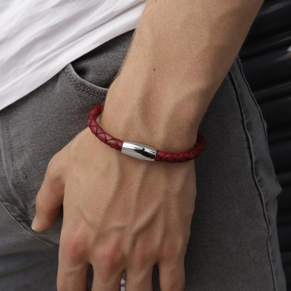 Kasper Red | Braided Leather and Steel Bracelet