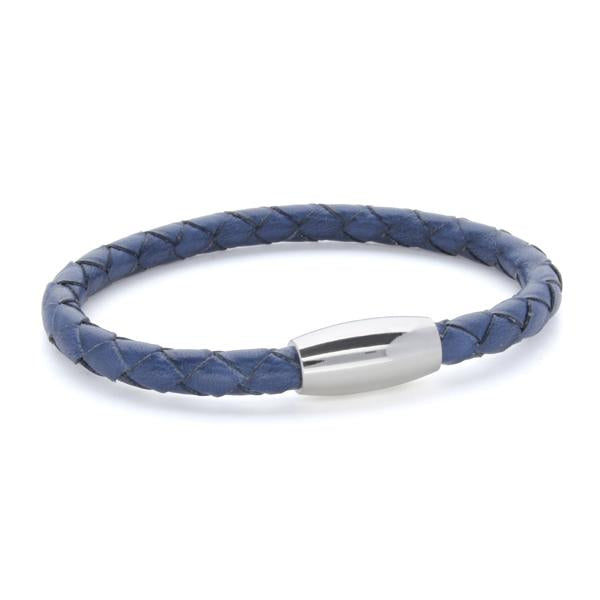 Kasper Blue | Braided Leather and Steel Bracelet