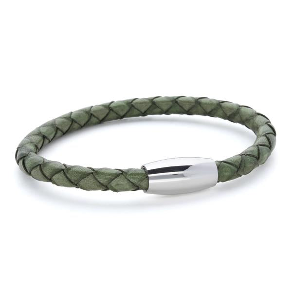 Kasper Green | Braided Leather and Steel Bracelet