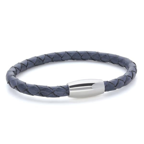 Kasper Navy | Braided Leather and Steel Bracelet - Duncan Walton Store