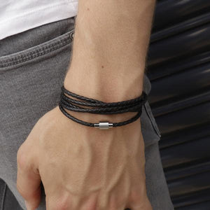 Koi Black | Leather and Steel Bracelet - Duncan Walton Store