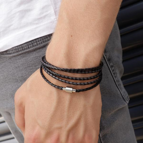 Koi Black/Grey | Leather and Steel Bracelet - Duncan Walton Store