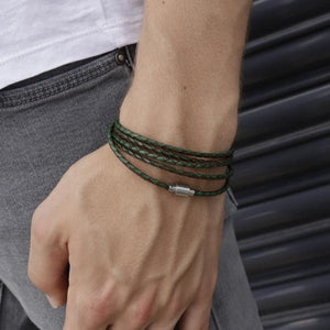 Koi Green | Leather and Steel Bracelet