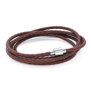 Koi Vintage Brown | Leather and Steel Bracelet