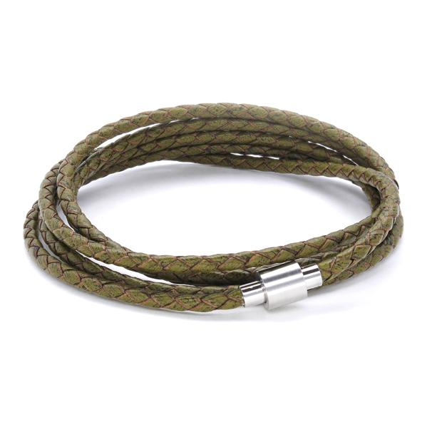 Koi Vintage Green | Leather and Steel Bracelet - Duncan Walton Store
