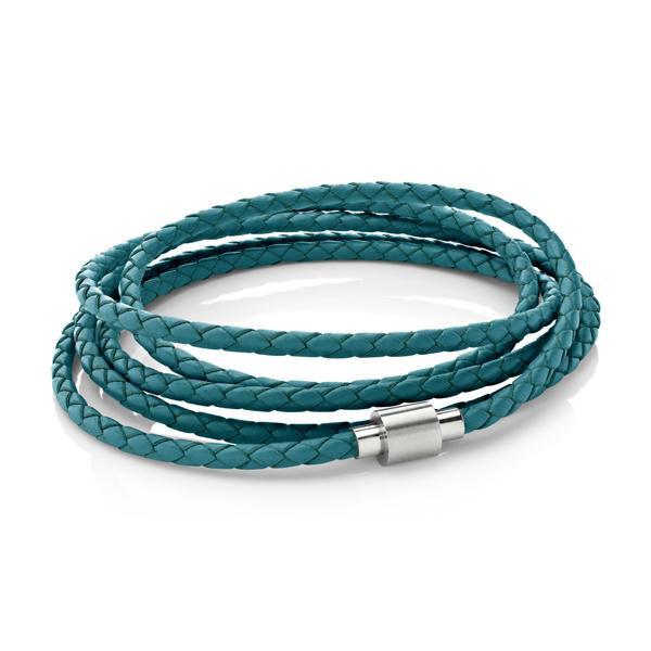 Koi Teal | Leather and Steel Bracelet - Duncan Walton Store