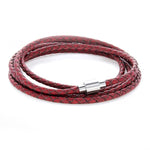 Koi Vintage Red | Leather and Steel Bracelet - Duncan Walton Store