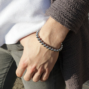 Simple, Strong and Stylish Steel Beaded Bracelet