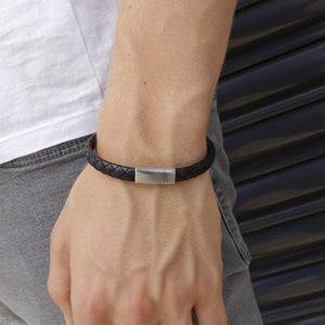 Lyon Black | Leather and Steel Bracelet - Duncan Walton Store