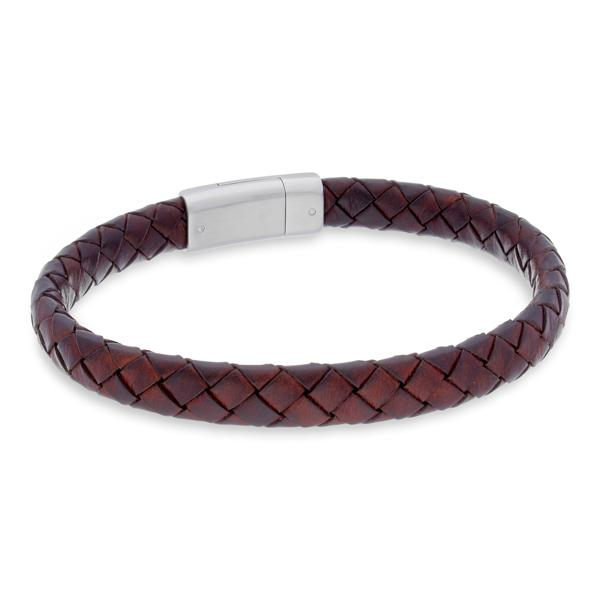 Lyon Brown | Leather and Steel Bracelet - Duncan Walton Store