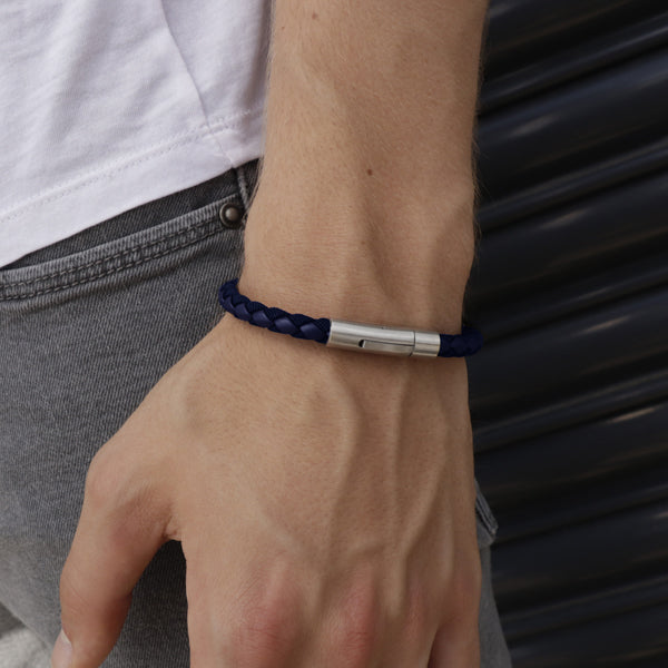 Marco Blue | Leather and Steel Bracelet