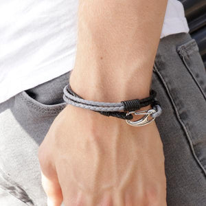Nolan Grey and Black | Leather and Steel Bracelet - Duncan Walton Store