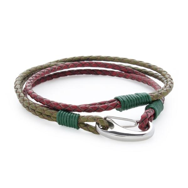 Nolan Red/Green | Leather and Steel Bracelet