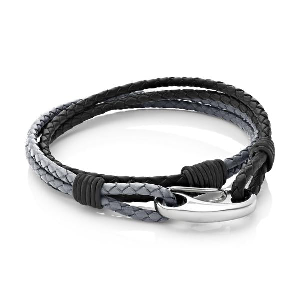 Nolan Grey and Black | Leather and Steel Bracelet