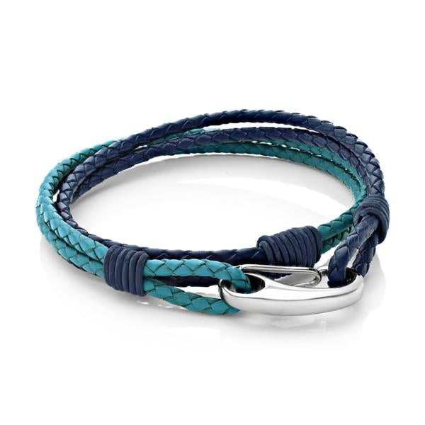 Nolan Blue and Teal | Leather and Steel Bracelet - Duncan Walton Store