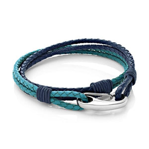 Nolan Blue/Teal | Leather and Steel Bracelet