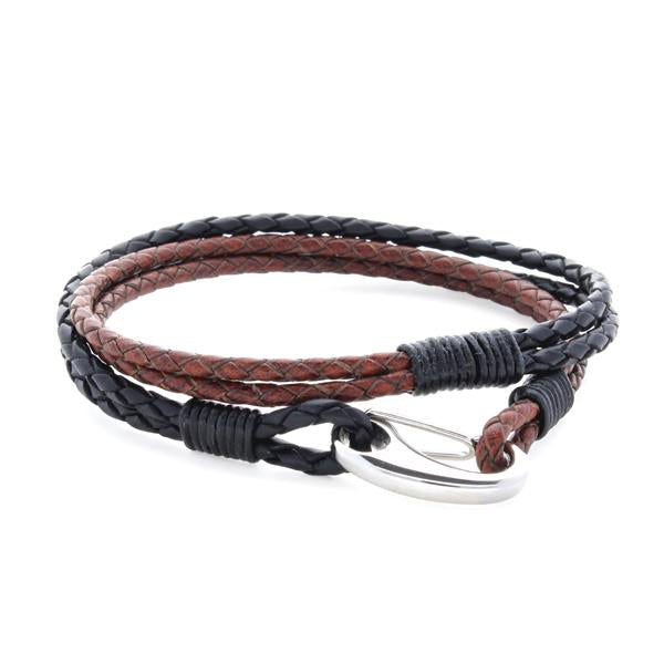 Nolan Black and Brown | Leather and Steel Bracelet - Duncan Walton Store
