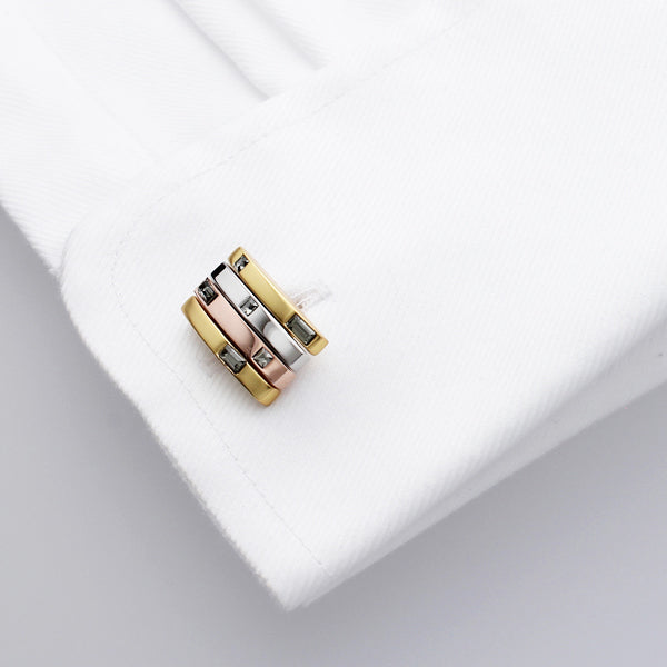 Quire Black Diamond | Swarovski® Crystal | Gold Cufflinks