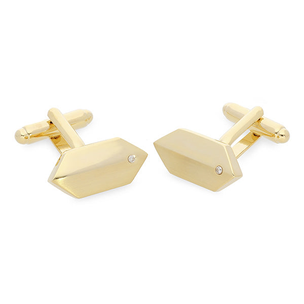 Gold Cufflinks with Genuine Diamonds
