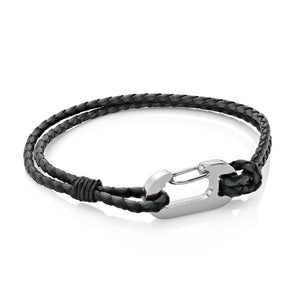 Ruskin Black | Braided Leather Bracelet