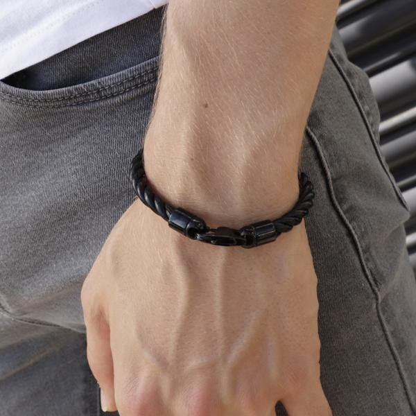 Scott Black | Leather and Steel Bracelet