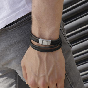 Sinski Black | Leather and Steel Bracelet