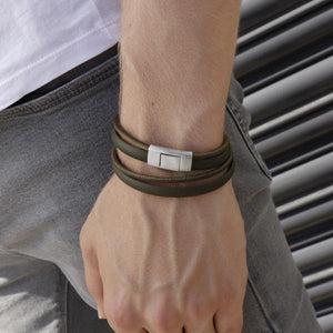 Sinski Green | Leather and Steel Bracelet